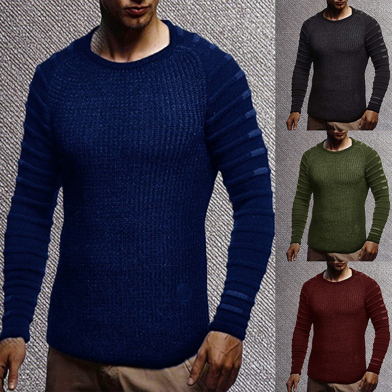 US $14.77 45% OFF Mens Slim Fit Casual Sweater Personality fashion Woven stitching pullover Solid Thick sweater Male clothes Autumn Winter in