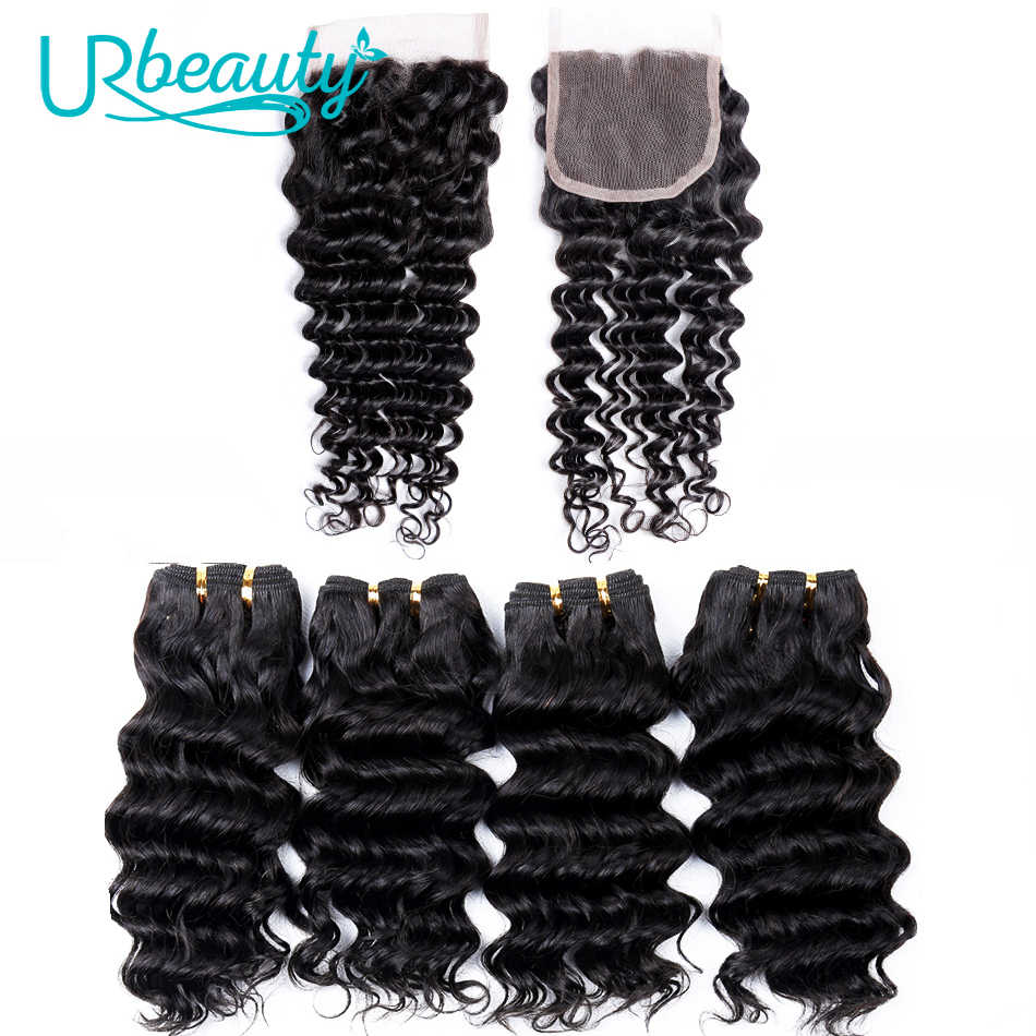 50g/pc Deep Wave Bundles With Closure Brazilian Human Hair Bundles With Closure Free Part UR Beauty Non Remy Hair