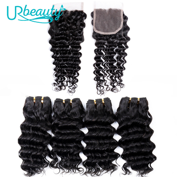 50g/pc Deep Wave Bundles With Closure Brazilian Human Hair Bundles With Closure Free Part UR Beauty Non Remy Hair