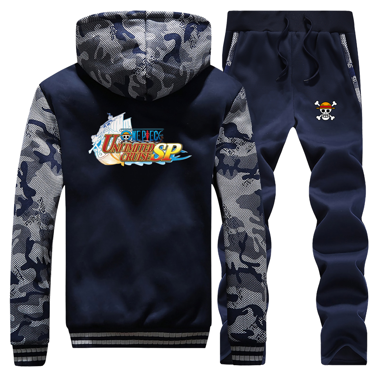 One Piece Tracksuits Jacket Pant Set Men Unlimited Cruise Sp Japan Anime The Straw Hat Pirates Luffy Suit 2 PCS Coat Sportswear
