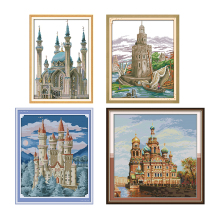 Joy Sunday Blue Castle Cross Stitch Landscape Patterns Aida