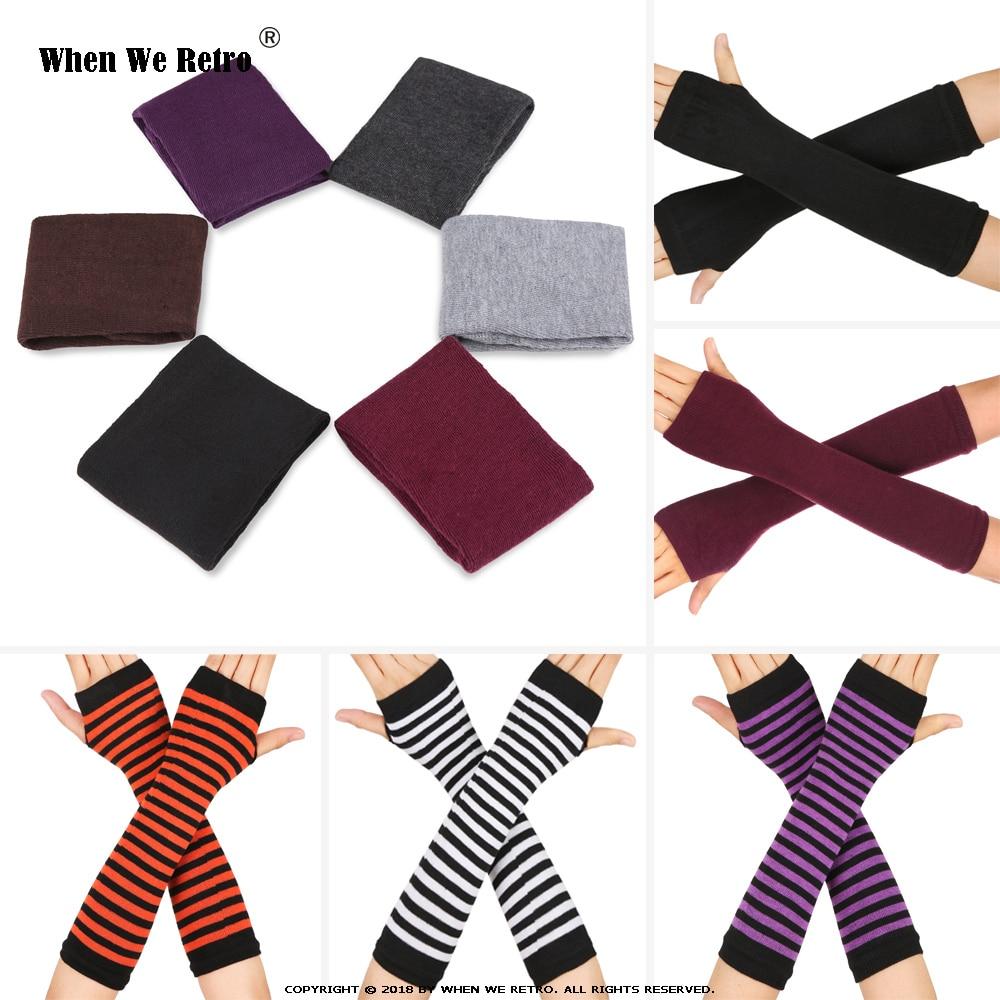 When We Retro Autumn Winter Wrist Arm Hand Arm Warmers Knitted Long Fingerless QY0491 Sleeve Fingerless Gloves Soft Warm Mitten