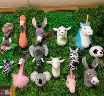 2021 wholesale ins style stuffed animal head wall decoration head lifelike printed animal head for kids bedroom