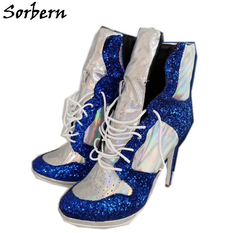 Sorbern Holo Silver High Heel Sneaker Booties Ankle High Cutom Colors Stilettos Platform Big Size Guys Unisex Shoe Ladies