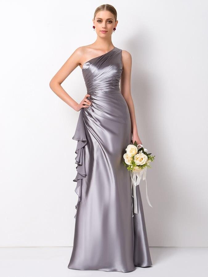 New Silver Long Bridesmaid Dresses 2019 Pleated Ruffles One Shoulder Bridesmaid Dress Pageant Dress Vestidos De Festa