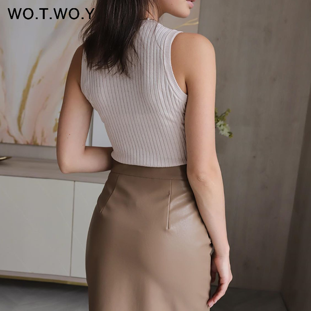 WOTWOY Elengant High Waist Leather Penci Skirt Women Multi Button Wrapped Skirts Mujer Faldas Solid Pockets Femme Jupes New 2020 2