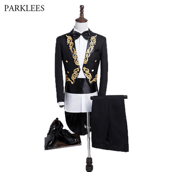 Gold Embroidery Tail Coat Men Brand New Mens Wedding Suits with Pants Stage Singer Groom Prom Black Tuxedo Suits Costume Homme