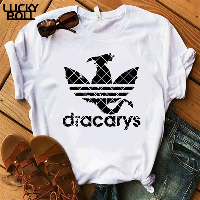 Dracarys/Футболка женская одежда 2019 женские топы футболки в стиле Харадзюку khaleesi Camisetas dadragon Dragon летняя одежда
