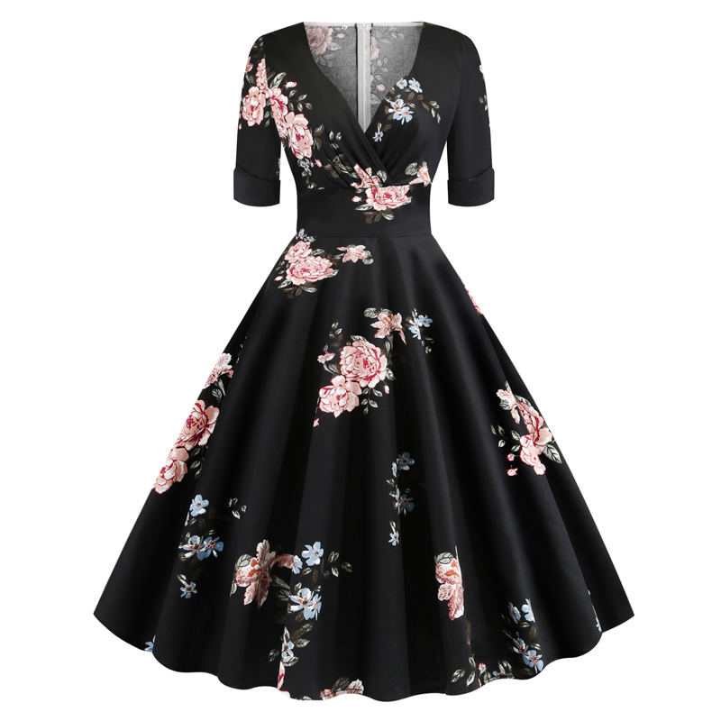 Floral Print <font><b>Vintage</b></font> <font><b>1950s</b></font> <font><b>60s</b></font> Pin Up <font><b>Dresses</b></font> Women V-Neck Ropa Mujer Elegant Retro Party A Line Swing <font><b>Dress</b></font> Vestidos Robe Femme image