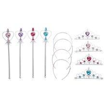 1 conjunto princesa elsa cosplay acessórios crianças coroas de diamante tiaras + varinha mágica meninas acessórios para o cabelo