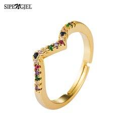Nowe mody Boho Rainbow Cz kamień pierścionek do łączenia prosty złoty kolor regulowane faliste pierścienie dla kobiet biżuteria w stylu Vintage 2020