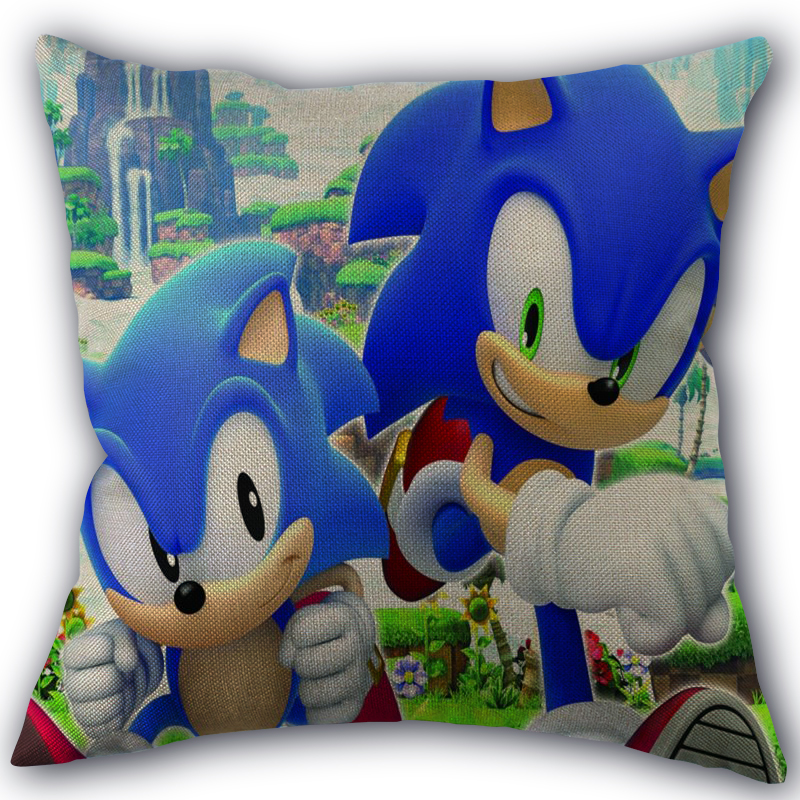 Custom Sonic The Hedgehog Pillowcase Linen Cotton Fabric Pillowcases Wedding Pillow Cover Home Decorative Size 45x45cm One Side