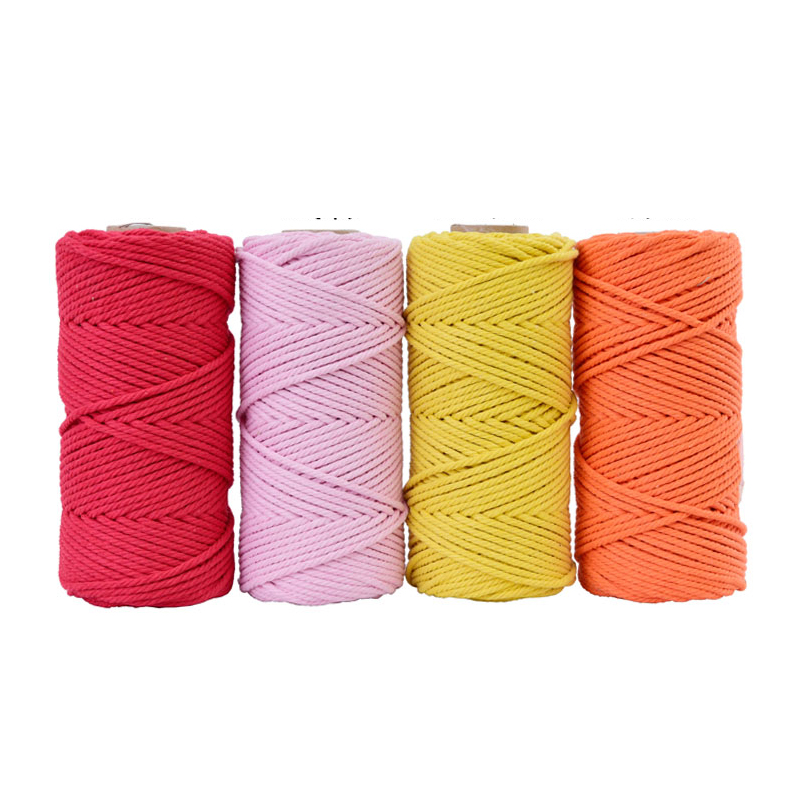 Image 3 - 4mmx110yards 100% Cotton Cord Colorful Rope Beige Twisted Craft Macrame String DIY Wedding Home Textile Decorative supply-in Cords from Home & Garden