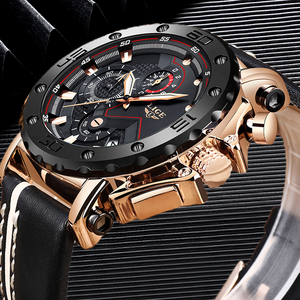 Image 3 - 2020LIGE New Fashion Mens Watches Top Brand Luxury Big Dial Military Quartz Watch Leather Waterproof Sport Chronograph Watch Men