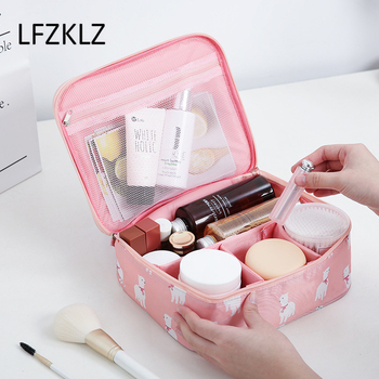 цена на LFZKLZ New Women Cosmetic Bag New Travel Makeup Bag Girl Wash Toiletry Make Up Organizer Beauty Hygiene Kit Bags Storage Case