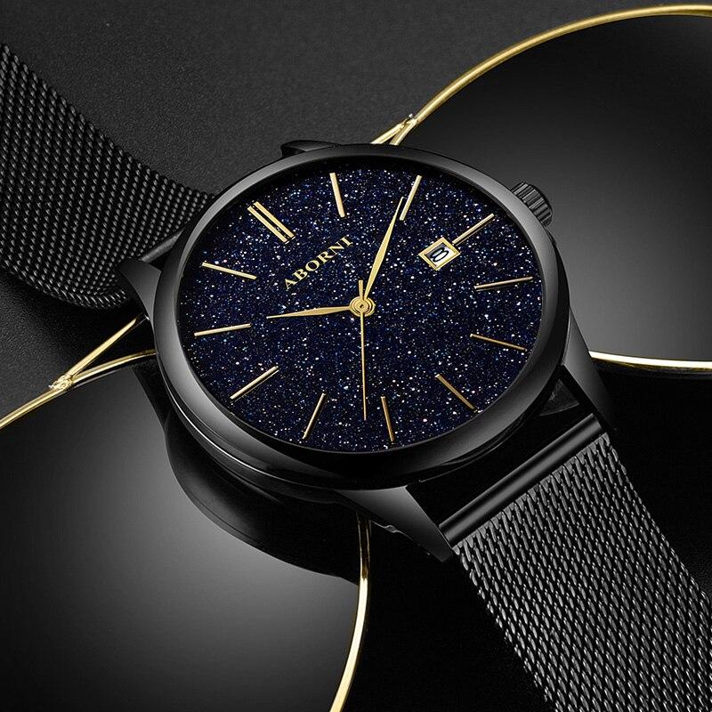 ABORNI Fashion Watch Men Waterproof Slim Mesh Strap Minimalist Wrist Watches For Men Quartz Sports Watch Clock Relogio Masculino