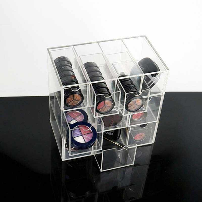 アクリルホームデスク透明メイクアップボックス整理 Organizadores プラスチックメイクアップアクリル引き出し化粧品主催者