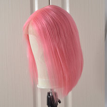 150% Pink Lace Front Human Hair Wig Brazilian Pink Pink Short Bob wig Nice Lace Wigs For Black Woman(China)