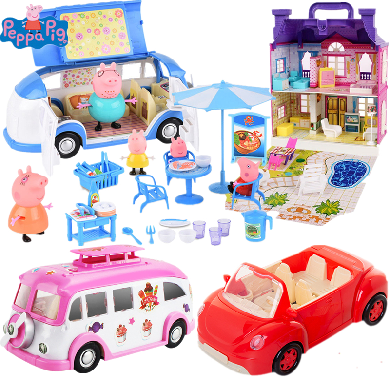 Original Peppa Pig Sports Car Dining Car Toy Party Picnic Set Action Figure Doll Family Dad Mom George Model Child Gift