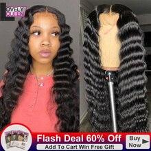 Curly Wigs Human-Hair-Wigs Deep-Wave 13x1 Loose Brazilian 150-Density Black-Women