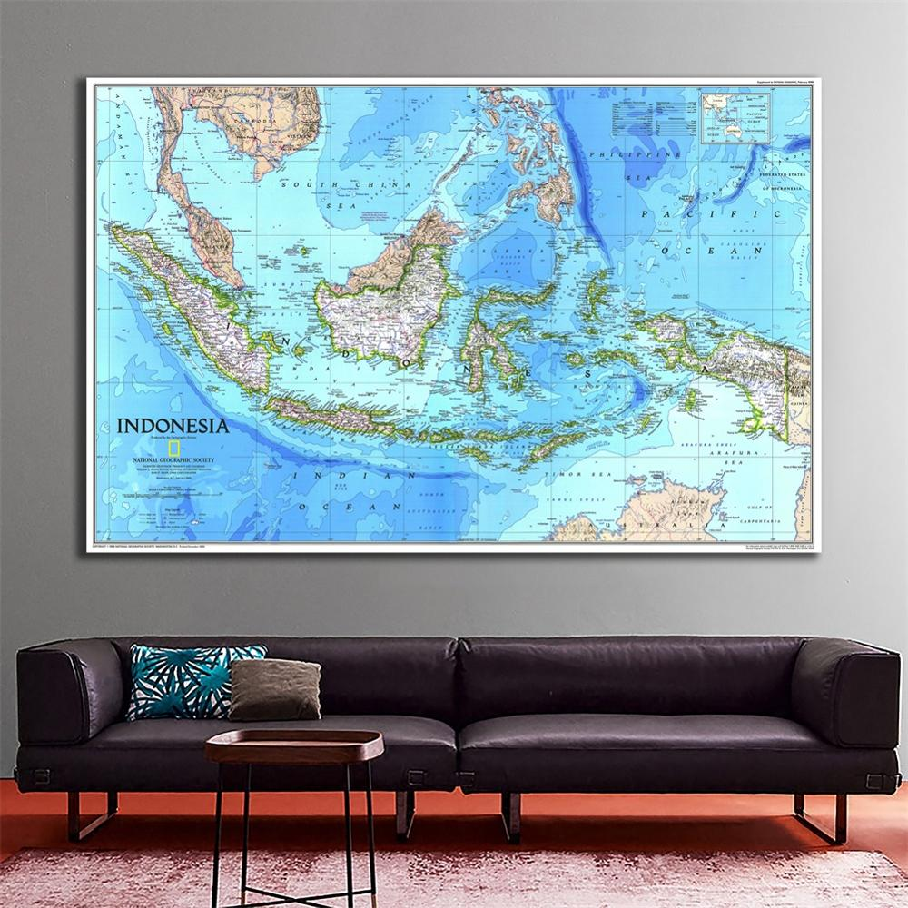 A1 Size Fine Canvas Painting HD Indonesia Map Waterproof Spray Painting Map For Living Room Wall Decor