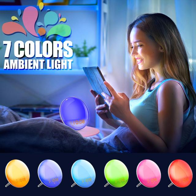 Wake Up Light Sunrise Simulation Alarm Clock Sleep Aid Colored Bedside Light with FM Radio Dual Alarm Adjustable Lightness