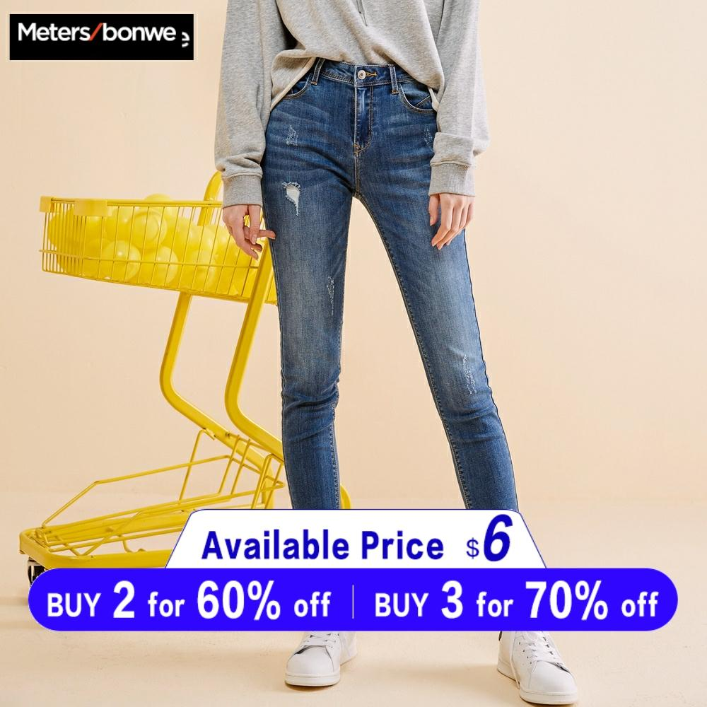 Metersbonwe Slim Jeans For Women Jeans Blue Denim Pencil Ankle-Length Pants High Quality Stretch Waist Women Jeans Plus Size