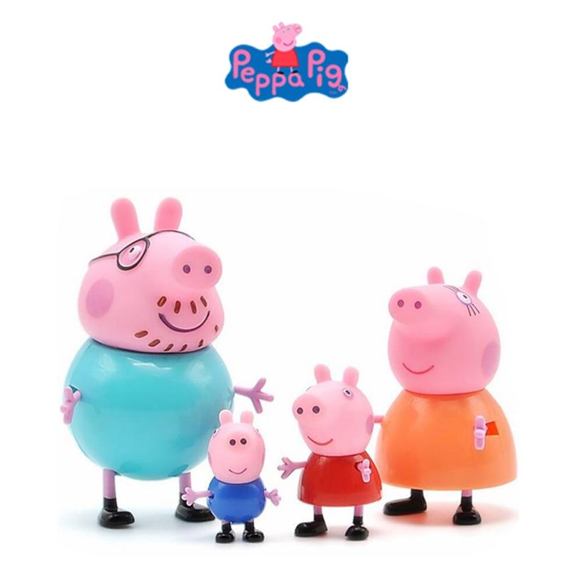 4pcs/set   Peppa Pig  Action Figure Dolls Family Dad Mom Grandpa Grandma George Peppa Toys Model Child Birthday Xmas Gift  Lovel