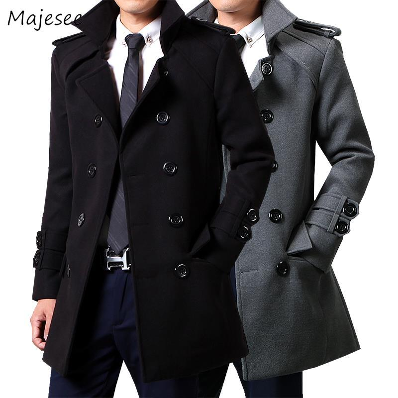 Wool Men Winter Long Coat Plus Size 3XL Gray Double Breasted Big Pockets All-match Simple Classic Mens Overcoat High Quality HOT