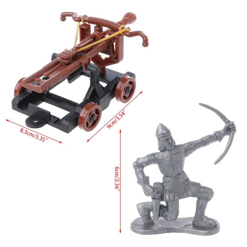 14Pcs/set Medieval Knights Toy Catapult Crossbow Soldier Figures Playset Chariot