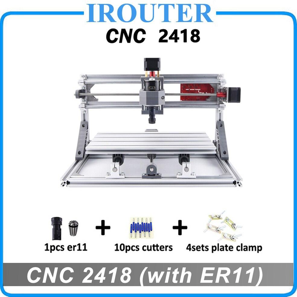 CNC 2418 com ER11, diy mini cnc máquina de gravura do laser, Pcb Fresadora, Máquina de Escultura Em Madeira router, cnc2418, melhores brinquedos Avançados
