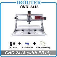 Cnc 2418 com er11, diy mini cnc máquina de gravura a laser, fresadora pcb, escultura em madeira roteador, cnc2418, melhores brinquedos avançados