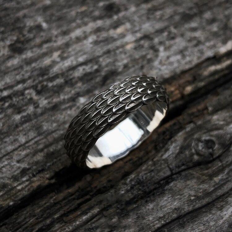925 silber Original Design Einfache Persönlichkeit Drache Skala Ring Für Männer Schmuck Paar Ring - 3