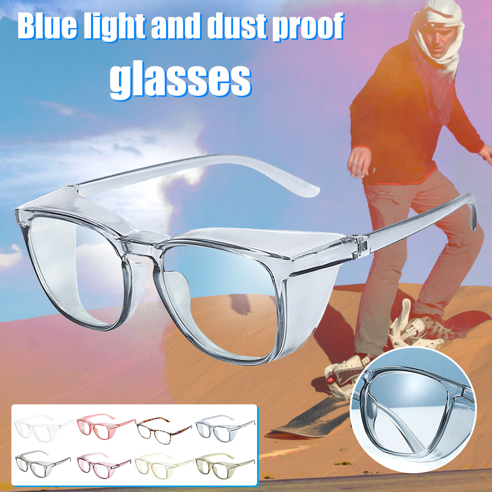 Safety Glasses - Anti-Fog and Scratch Blue Light Blocking Eyeglasses for Women Men, Anti Pollen Goggles UV Protection Windproof