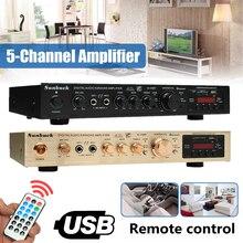 298b bluetooth 2.0 canal 2000w 5 canais áudio amplificador de potência 220v av amp alto-falante com controle remoto suporte fm usb cartões sd
