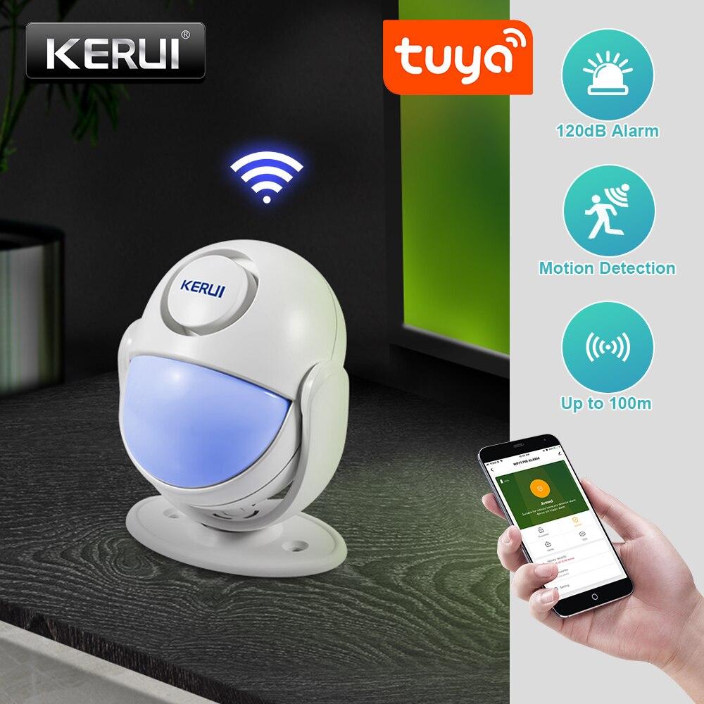 KERUI Tuya умный дом безопасности Wi-Fi сигнализация работает с Alexa 120dB PIR детектор двери/окна датчик беспроводной App защита от взлома
