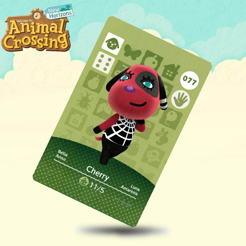 077 Cherry  Animal Crossing Card Amiibo Cards Work For Switch NS 3DS Games