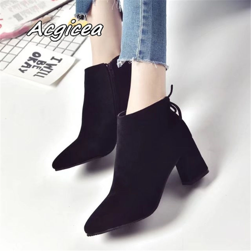 Pointed Toe High Heels Women Boots Basic Shoes Autumn And Winter Casual Female Ankle Boots Single Fashion snow boots 3