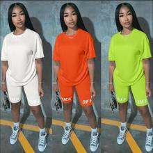 2020 Two-piece Solid Color Women's Clothing. Short-sleeved Crew Neck T-shirt and Tight-fitting Shorts. sexy Style Tracksuit color block crew neck hem t shirt