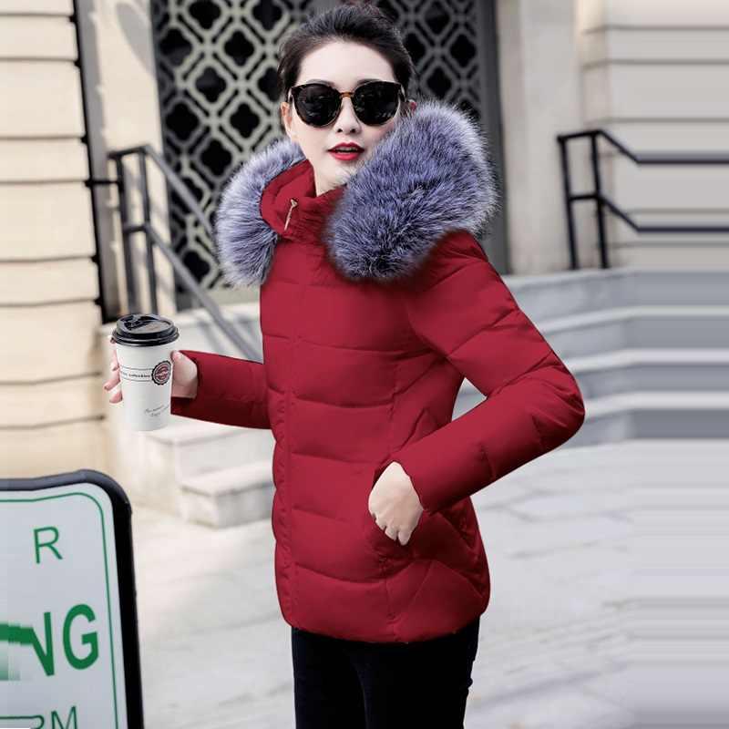Moda inverno jaqueta feminina casaco quente curto feminino jaqueta plus size 5xl senhoras parka casaco de inverno gola de pele com capuz outwear