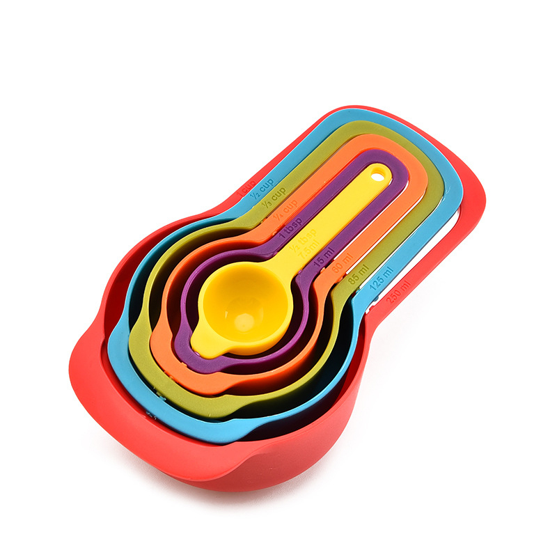 New 6 Pcs/Set Kitchen Measuring Cup Rainbow Color Stackable Combination Measuring Cup Tools 6-Piece Kitchen Accessories Tools