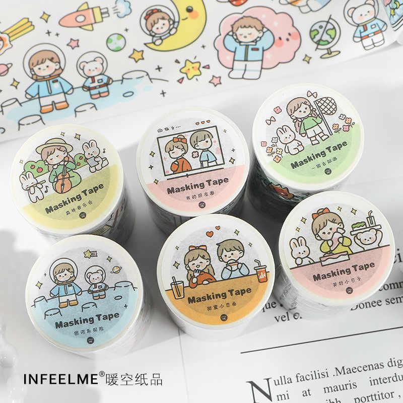 Serie con You personaje de dibujos animados bala diario Washi cinta decorativa chica Linda cinta adhesiva DIY Scrapbooking etiqueta adhesiva