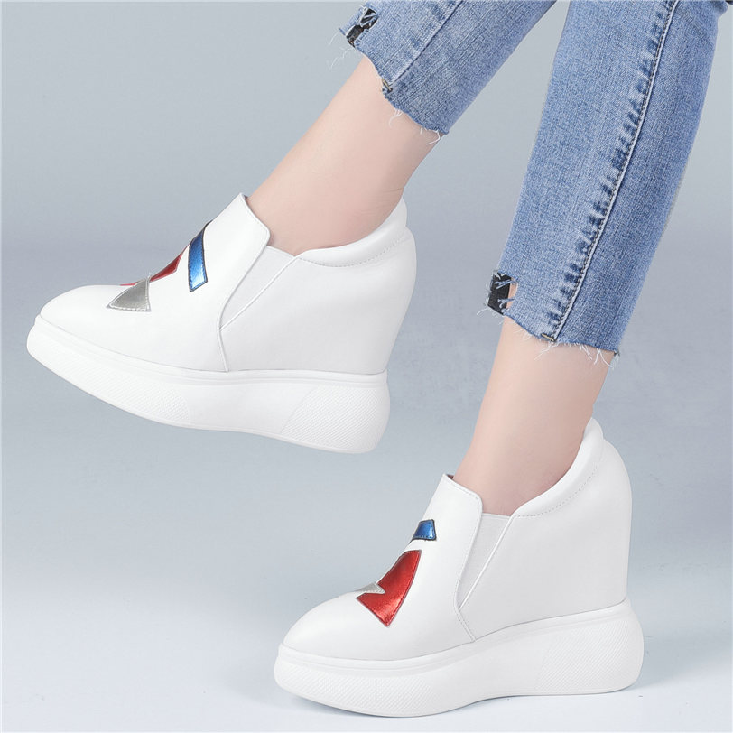 Vulcanized Shoes Women Genuine Leather Wedges Platform Trainers High Heel Oxfords Shoes Pointed Toe Walking Loafers Tennis Shoes in Women 39 s Vulcanize Shoes from Shoes