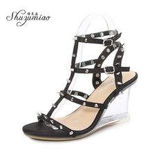 Women Shoes Sandals Ankle-Strap Open-Toe High-Heels Sexy Plus-Size 43 Shuzumiao Party
