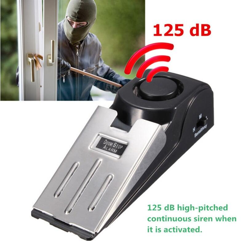Wireless Portable Stainless Steel Mini 120dB Card Door Stop Alarm For Home Wedge Shaped Alert Security Block Blocking System
