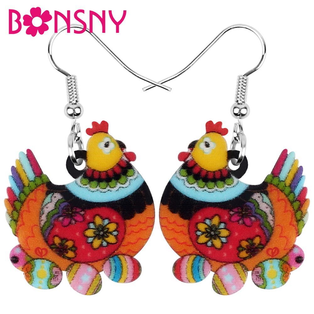 Bonsny Acrylic Floral Hen Chicken Eggs Earrings Farm Animal Drop Dangle Jewelry For Women Girls Teens Kids Charm Decoration Gift