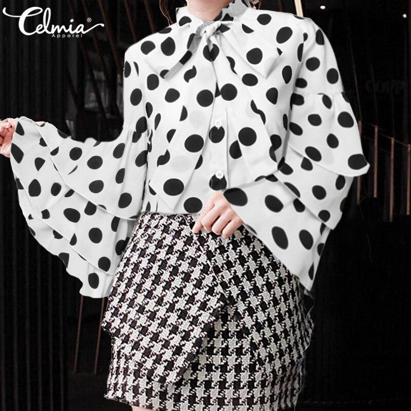 Summer Fashion Women Tops And Blouse 2020 Celmia Sexy Office Ladies Chiffon Shirt Polka Dot Bow Tie Ruffled Blusas Plus Size 5XL