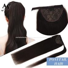 Hair-Wrap Ponytail Horsetail-Extension Human-Hair-Straight-Machine Balayage-Color Natural