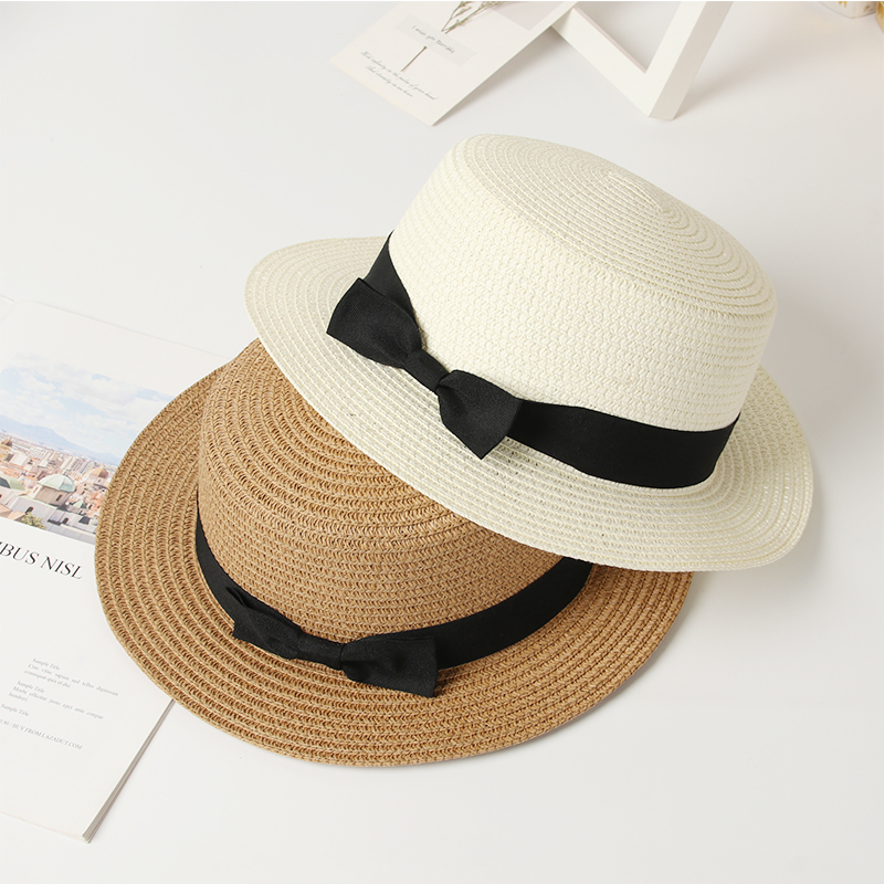Summer Hats For Women Sun Hat Beach Ladies Fashion Flat Brom Bowknot Panama Lady Casual Sun Hats For Women Straw Hat