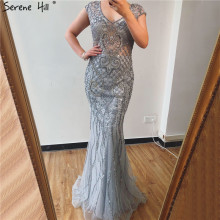 Serene Hill Grey Luxury V Neck Mermaid Evening Dress Design 2020 Dubai Full Diamond Sexy Formal Party Gown CLA70063